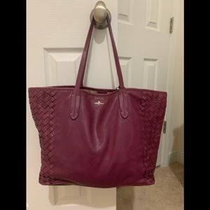 Cole Hann large, all-leather, woven tote. EUC